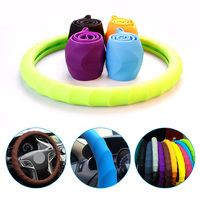 38cm Silicone Car Steering Wheel Cover Universal Auto Accessories Silica Gel Steering-wheel Protect Shell For VW Lada Mazda Kia