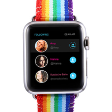Rainbow Leather Nylon Strap for Apple Watch band 38mm 42mm Wristband Bracelet Nylon for iWatch 40mm 44mm band Series 1 2 3 4