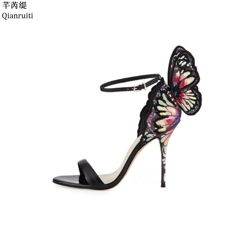 Qianruiti Summer Ankle Buckle Women Pumps Pink Butterfly Wings Stiletto Heels Women Shoes Sexy Open Toe High Heels Women Sandals