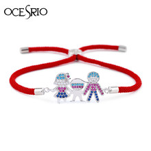 OCESRIO Family Red thread Bracelets for Women Kids CZ String Best Friend Couple Bracelets for lovers Jewellery pulseras brt-b06(China)