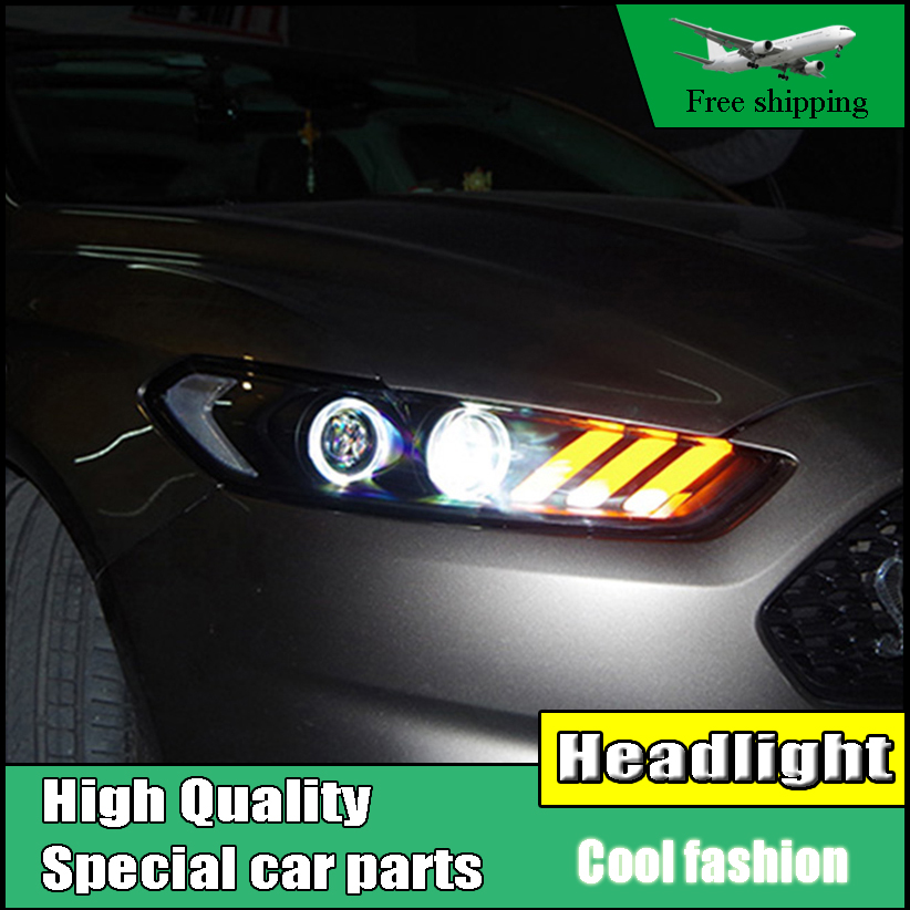 Car styling Head Lamp Case For Ford Mondeo For Fusion 2013 2014 2015 Headlights LED Headlight DRL Double Beam Lens Bi-Xenon HID hireno headlamp for hodna fit jazz 2014 2015 2016 headlight headlight assembly led drl angel lens double beam hid xenon 2pcs