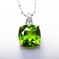 square cushion brilliant cut peridot gemstones necklace pendants olivine stones inlay S925 silver plated gold in created jewelry