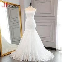 Simple White Elegant Mermaid Lace Wedding Dresses 2017 Real Photo Beaded Appliques Court Train Bridal Wedding