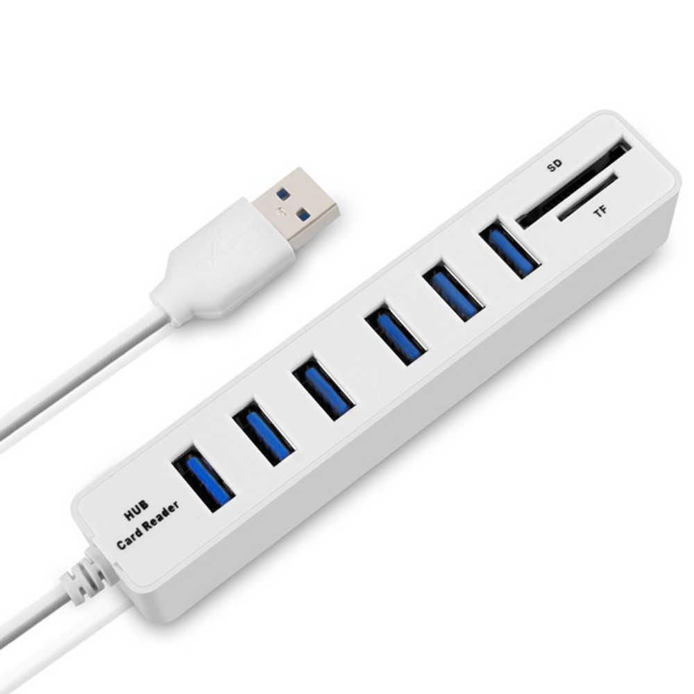 JDL-HSD8 USB Hub Combo Splitter 3/6 Poorten Optionele USB 2.0 High Speed Mini 2 In 1 SD TF Kaartlezer voor Laptop Computer