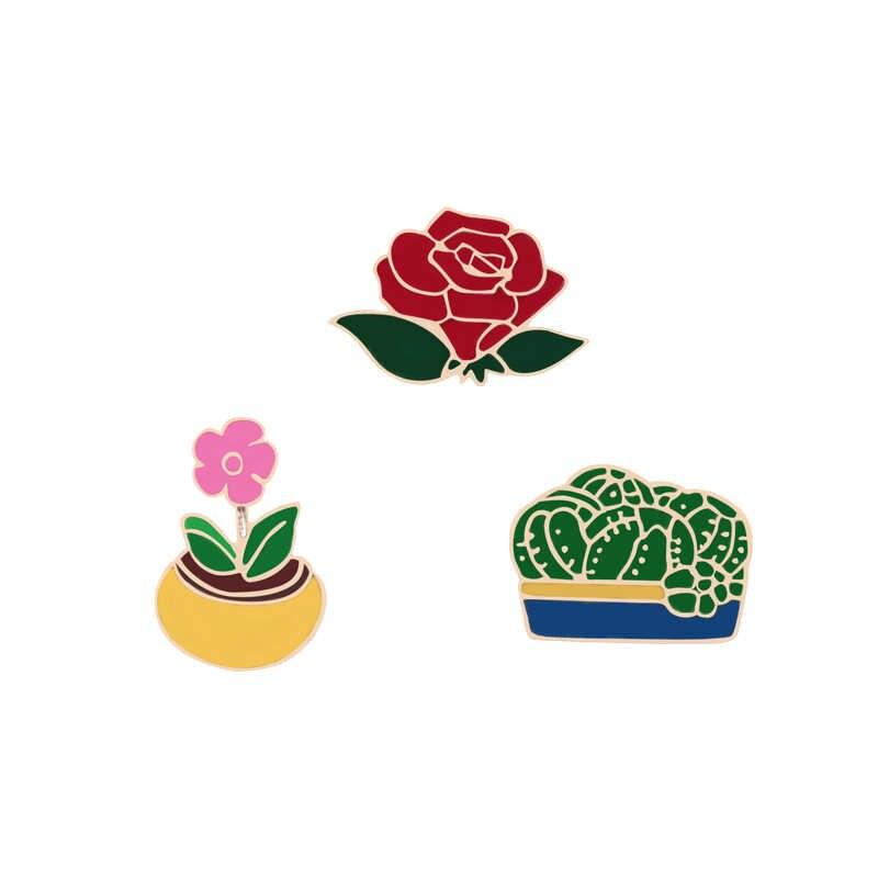 Gratis Pengiriman Logam Lucu Kartun Hewan Pin Bros Bunga Tanaman Jamur Perhiasan Enamel Pin Wanita Tas Pakaian Aksesoris Hadiah