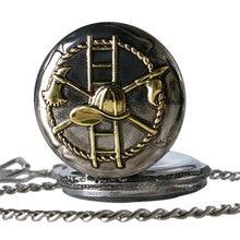 46mm Big Size Golden Pocket Watch Firemen Necklace Men Quartz Watches 30mm Pendant Chain Fob Watch