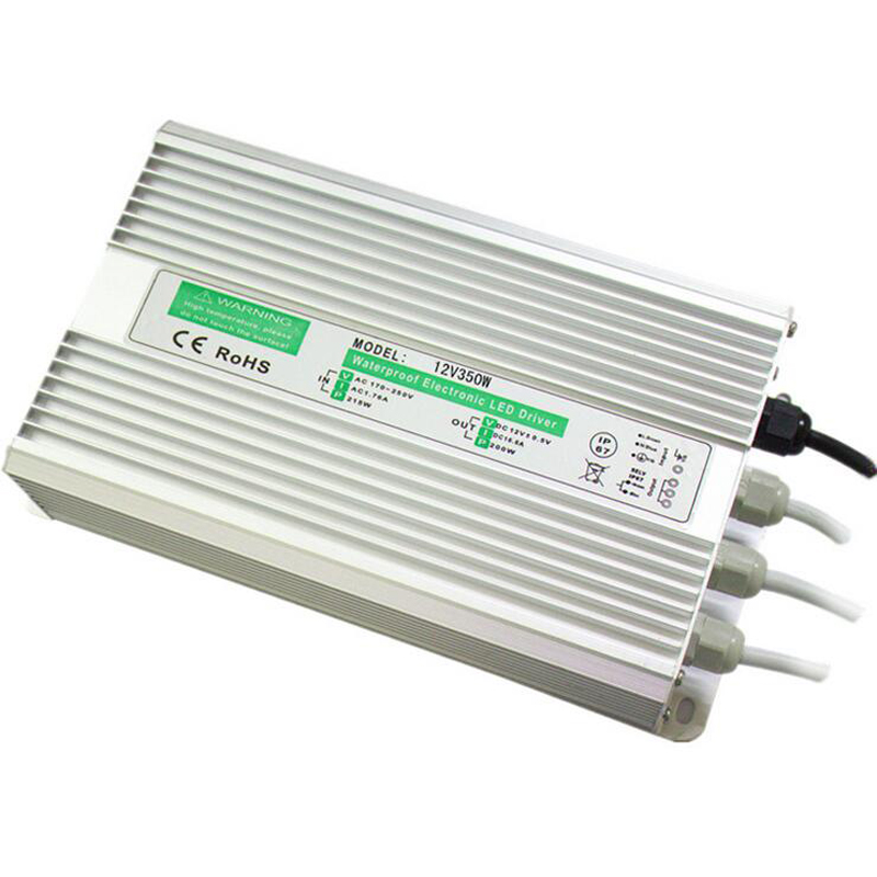 12 V 350 W interrupteur étanche LED alimentation du conducteur tension constante tout en aluminium IP67 pour l'éclairage public
