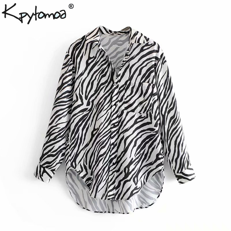 Detail Feedback Questions about Vintage Zebra Print Asymmetrical Tops Women  Blouses 2018 Fashion Long Sleeve Pockets Animal Pattern Shirts Casual Blusas  ... c94678c0b