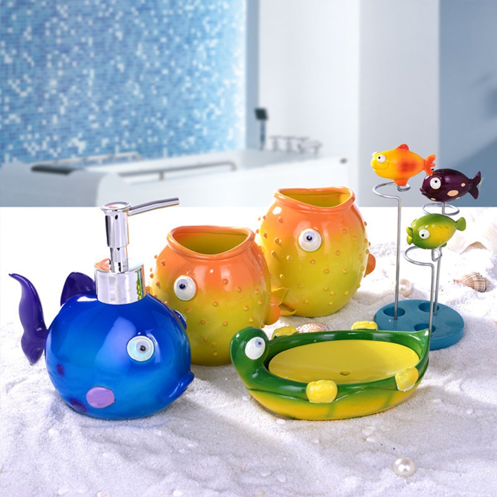 Cute Cartoon Fish Duck Bath Set Gift Bathroom 5 Pcs Soap Toothbrush Holder Lotion Dispenser Diy Wash Cup Accessory In Accessories Sets