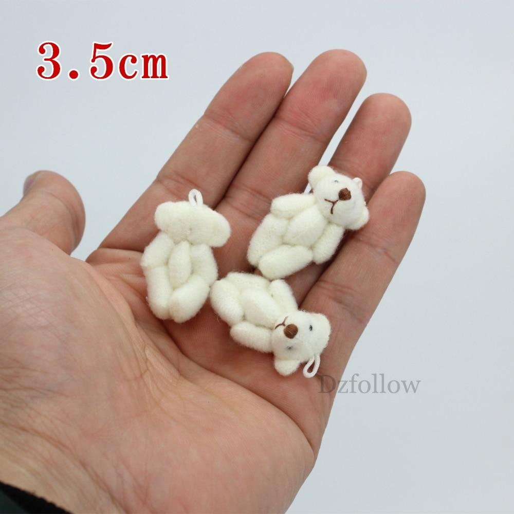 10pc 3.5cm  Mini Joint Teddy Bear Plush Stuffed   Wedding BOX Toy Doll  Garment & Hair Accessories Decor Doll
