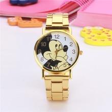 mens watches top brand luxury stainless steel gold cartoon mouse men watch women quartz wristwatch for kids ladies leather clock