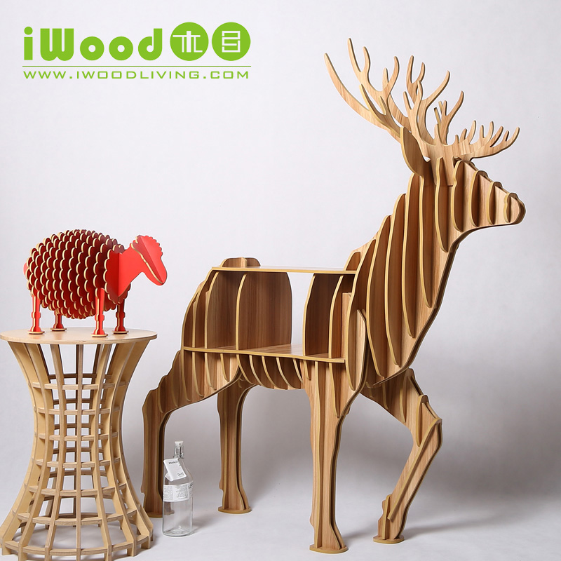 Factory direct simulation deer elk craft ornaments creative home decorations wood crafts wooden ornaments Continental home decor realistic simulation dog ornaments garden courtyard home living room decorations crafts lucky animal decoration