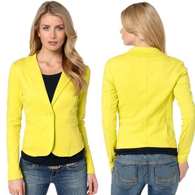 8510c763606 Mujeres Casual chaquetas Blazer negocios traje un botón delgado amarillo para  mujer Blazers ropa de trabajo