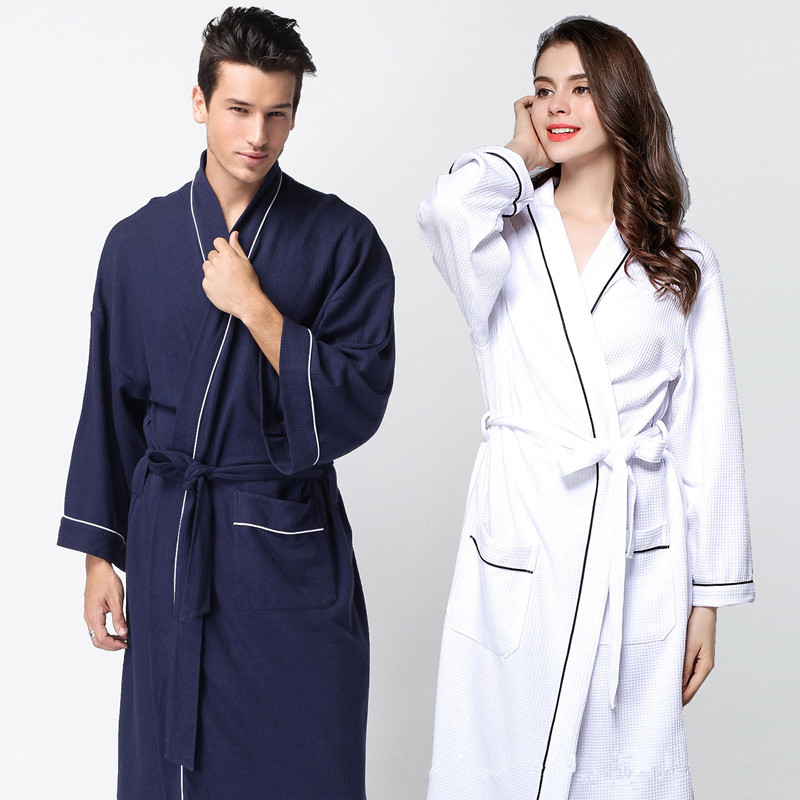 Summer Mens Lounge Robes Hotel Cotton Solid Nightgowns Bathrobe Suck Sweat  Bath Towels Gown Male Lounge 851fa9c66