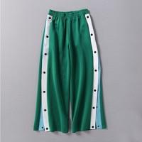 lady women clothes female clothing Side fork pants casual pants loose straight tube broadlegged pants