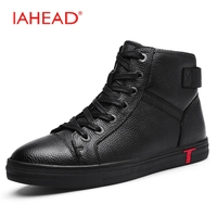IAHEAD Men Boots Genuine Leather Flats New Casual Shoes Lace Up Warm Winter Boots Men Plus