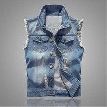 2019 Men Denim Jeans Vest Coat Ripped Tassel Pocket Sleeveless Jacket Spring Man Streetwear Cowboy Waistcoat broken hole Jackets
