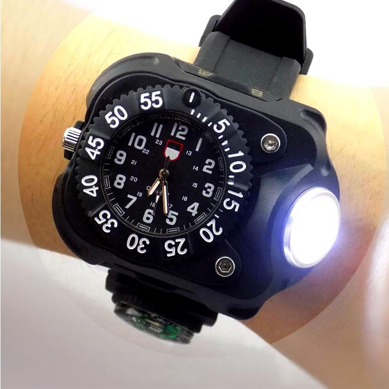 3 in 1 helle uhr licht taschenlampe mit kompass outdoor sports herren mode Wasserdichte LED wiederaufladbare armbanduhr lampe taschenlampe