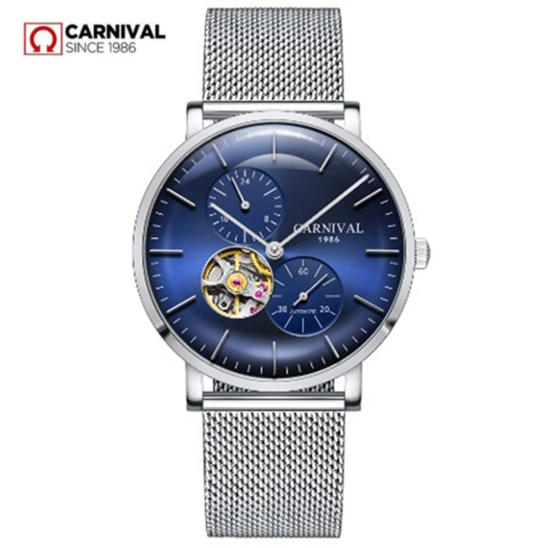 Ultrathin tourbillon automatic mechanical watches men genuine leather strap waterproof men watch clocks reloj erkek kol
