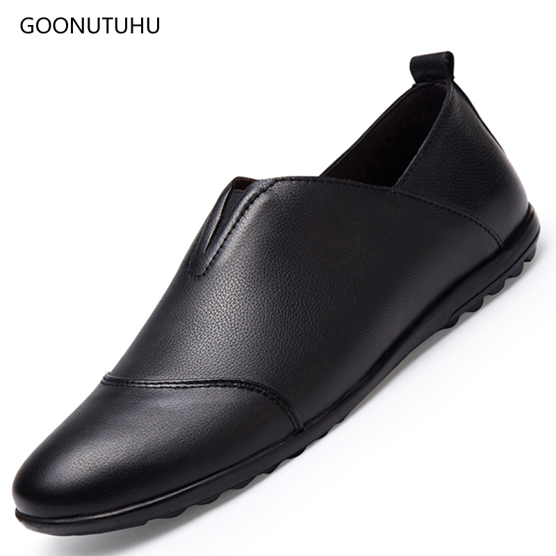 Fashion mens shoes genuine leather breathable solid casual shoes men - Men's Shoes