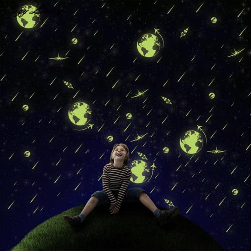 Светящиеся Настенные Стикеры набор детей Спальня люминесцентные Светящиеся в темноте звезды Наклейки на стену метеорный поток DIY обои D8