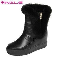 VINLLE 2018 Frauen Schnee Stiefel Schwarz Stiefeletten Runde Kappe Warm halten Keil High Heel Kristall Reißverschluss Damen Schuhe Größe 34-39