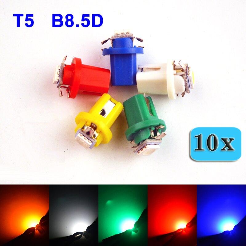 flytop 10 шт Т5, В8.В 5D 5050 1 СМД из светодиодов авто лампы 12V 5 цветов белый / синий / красный / желтый / зеленый