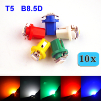 flytop 10 PCS T5 B8.5D 5050 1 SMD LED Car Auto Lamp 12V 5 Colors White / Blue / Red / Yellow / Green
