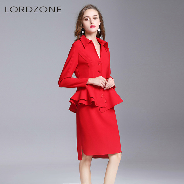 c76b31a32bc24 red skirt suit and blouse business suits for women office clothes ladies  jacket sets work formal outfits large plus size fashion