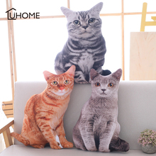 Kawaii Simulation Plush Cat Pillows Soft Stuffed Dolls Toy Cartoon Animal Cushion Sofa Bed Decor Lovely Plush Toys for Kids Gift стоимость