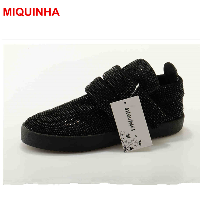 MIQUINHA New Designer Crystal Flat Platform Summer Women Shoes Casual Sapato Feminino Hook & Loop Mujer Female Shoes Women Flats 2017 summer women shoes casual cutouts lace canvas shoes hollow floral breathable platform flat shoe sapato feminino