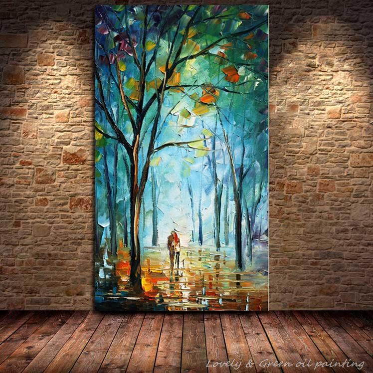 100% Handpainted Blue City Tree Street Modern Abstract Oil