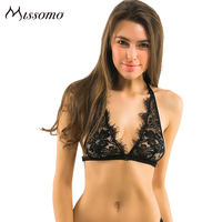 Missomo New Sexy Black Intimates Deep V Floral Sheer Lace Patchwork Halter Bralette Sexy Lace Trim