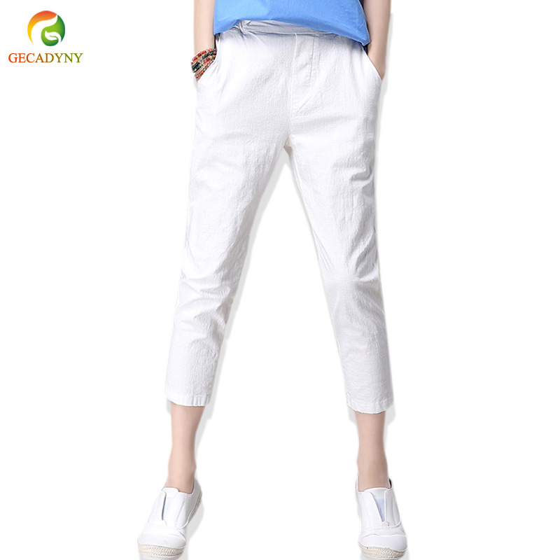 Summer Hot Solid Elastic Waist Harem   Pants     Capris   Women High Quality Thin Cotton Linen   Pants   2018 Ladies Casual Trousers Girls