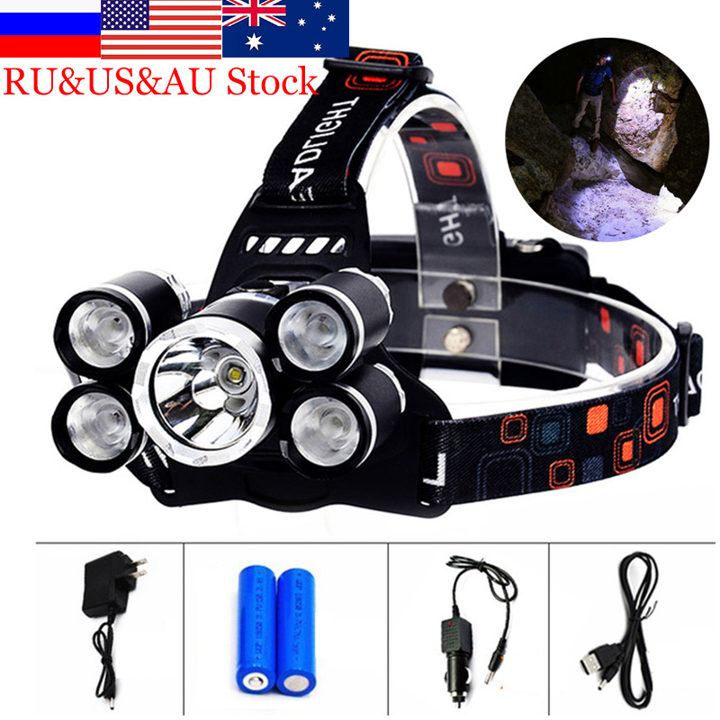 E 13000LM High Power Scheinwerfer LED Scheinwerfer T6 4 Q5 5 Chip Kopf Lampe Taschenlampe Lanterna Kopf Licht für jagd