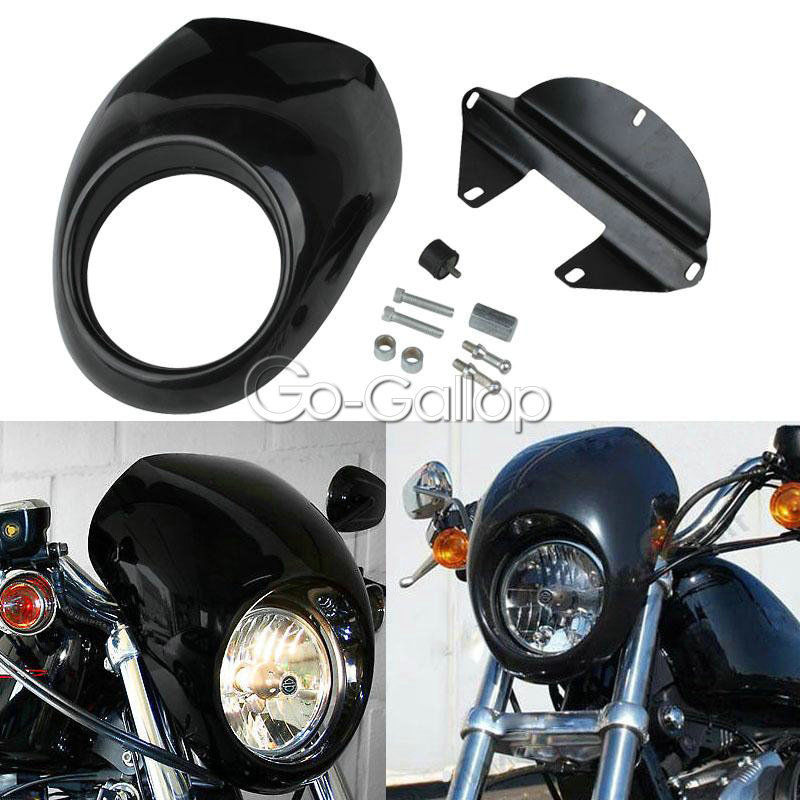 Black Front Headlight Fairing Cowl Fork Mount Mask For