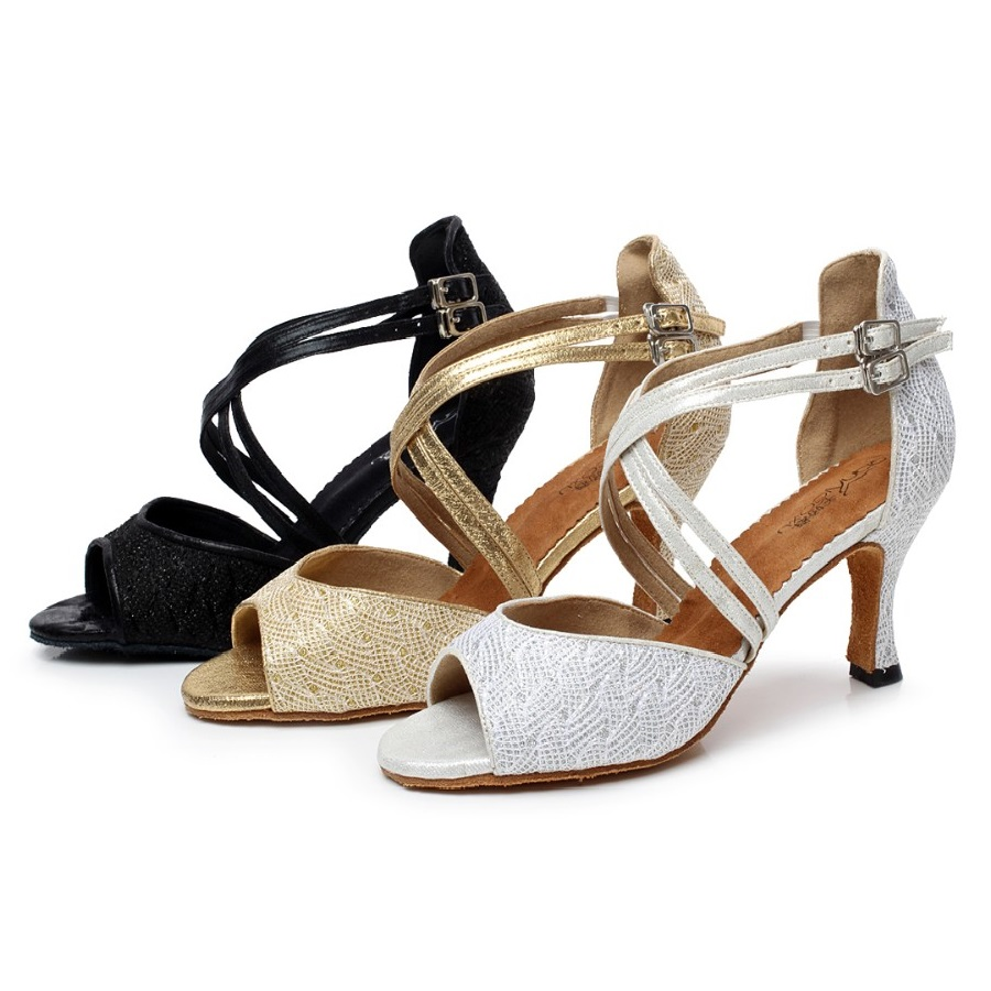 Woman Ballroom Latin Dance Shoes Salsa Shoes Female Tango Dance SHoes Heel 7.5 cm Soft Sole 1505