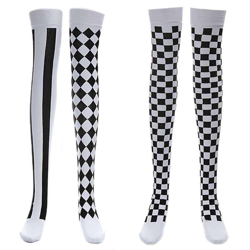 7046a24bd4626 Clown Costume Black White Plaid Knee-High Long Socks Halloween Carnival  Party