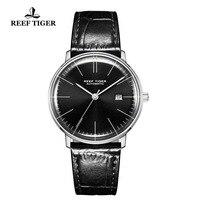 Rafa Tiger/RT luksusowe prosty styl mężczyźni zegarek ze stali pasek z prawdziwej skóry Ultra cienka wodoodporna automatyczny Montre Homme RGA8215 w Zegarki mechaniczne od Zegarki na