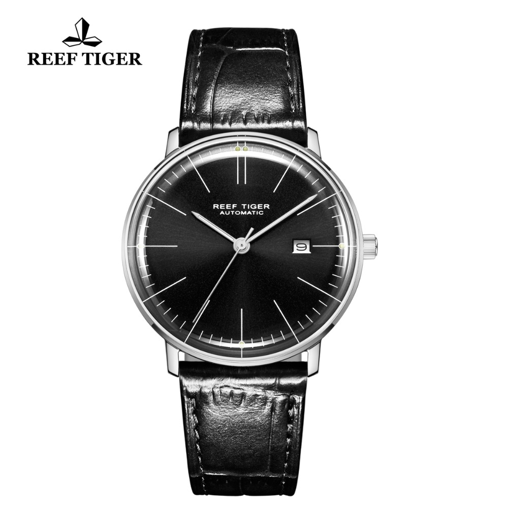 Reef Tiger/RT Luxury Simple Style Men Watch Steel Genuine Leather Strap Ultra Thin Waterproof Automatic Montre Homme RGA8215