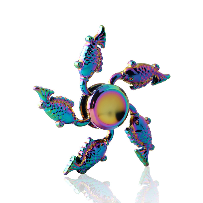 Five Fish Colorful Fidget Spinner EDC Hand Spinners Autism ADHD Kids Christmas Gifts Metal Finger Toys Spinners