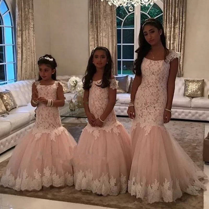 Sleeveless Lace Sashes Mermaid Flower Girl Dresses for First Communion Dresses Wedding Party Dress Tulle Mother Daughter Dresse цена и фото