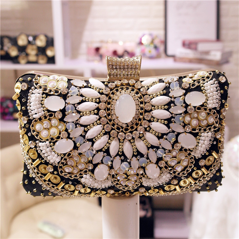Classic Fashion Clutch Party Bag Diamond Beaded Evening Bag Ladies Wedding Day Clutches Party Purse Banquet Women Bridal Bag new women s retro hand beaded evening bag wedding bridal handbag chain shoulder bag stitching sequins diamond stone day clutches