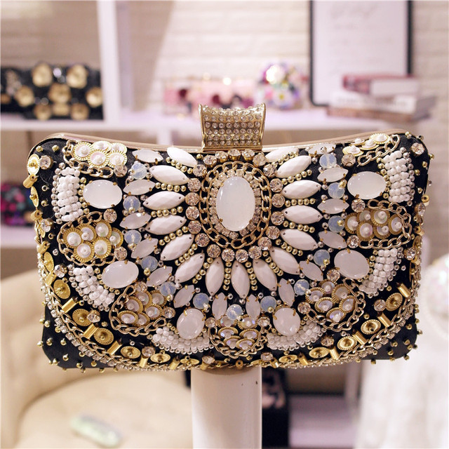 Clic Fashion Clutch Party Bag Diamond Beaded Evening Las Wedding Day Clutches Purse Banquet