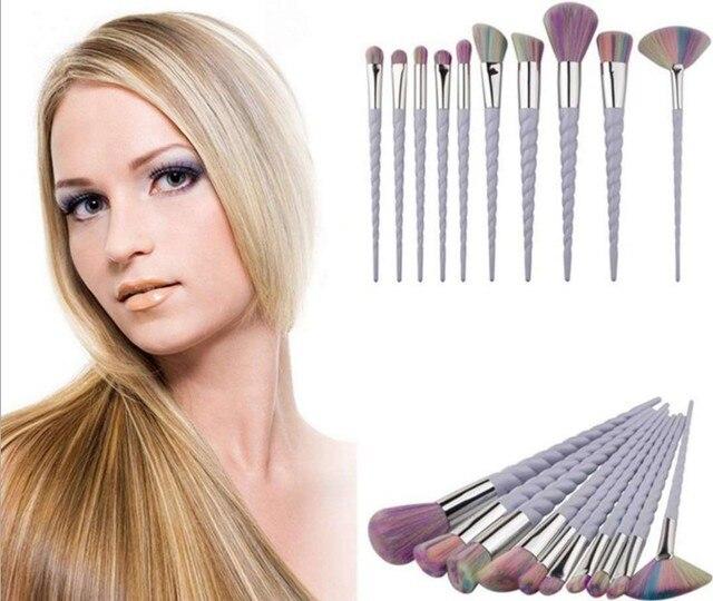 10 Set Professional Makeup Brush Set Thread Handle Colorful Hair  Face & Eye Powder Foundation Eyebrow Make Up Brush Kit Tools 5
