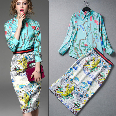 2016 Runway Brand Women's Skirt Suits Elegant Work Wear Retro Bird Print Shirts And Orient Tiger Skirts Suits Clothing Set NS202