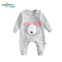 Spring Autumn Striped Kids Clothes Cartoon Animals Infant Jumpsuits Casual Girls Boys Long Sleeve Baby Rompers