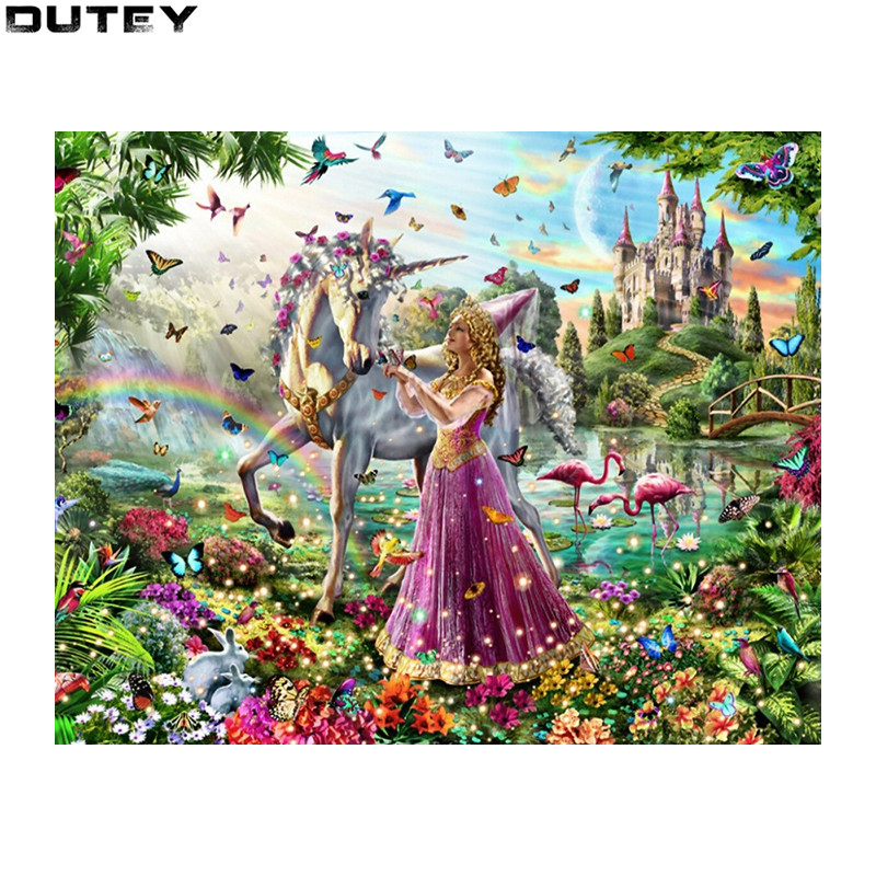 3D Diamond Embroidery Princess and horse Needlework Diamond Mosaic Pictures Of Rhinestones Hobbies And Crafts Accessories WZ