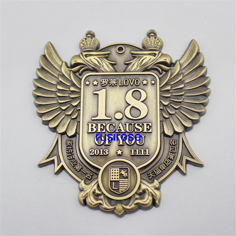 Textile Business 3D Stereo Wings Brooch Badge Customized, Diy Enterprise Exercise Vintage Double-Headed Eagle Medal Award Medal