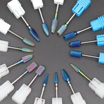Blue Tungsten Round Flame Nail Drill Bit Carbide Milling Cutter Manicure Ceramic Drill Bits Electric Machine Nail Accessories